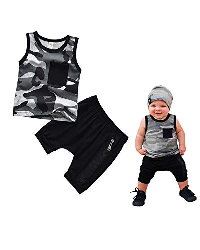 Mr.Lang Toddler Kids Baby Boys Camouflage Short Vest Set Infant Boy Sleeveless Tops + Zipper Pants Outfits 2PCS (Camouflage, 3-6 Months)
