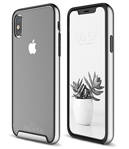 Mbody by Aduro iPhone X/Xs Case, Selenium 2-Layer Protection Metallic Edge Frame with Inner Rubber Shell Case for Apple iPhone X/Xs/iPhone 10 (2018/2017) (Silver)