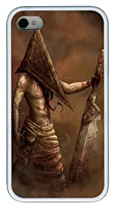 iPhone 4S Case Cover - Pyramid Head Custom Design TPU Case Cover for iPhone 4/4s White