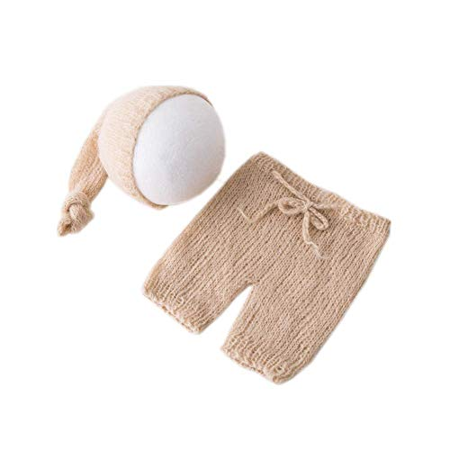 Vemonllas Fashion Cute Newborn Boy Girl Baby Costume Outfits Photography Props Hat Pants (Beige)]()