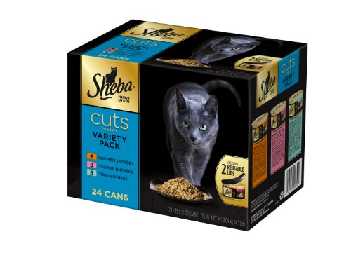 Sheba Premium Entree Cat Food Cuts 24 Count Multipack Tuna, Chicken and Salmon