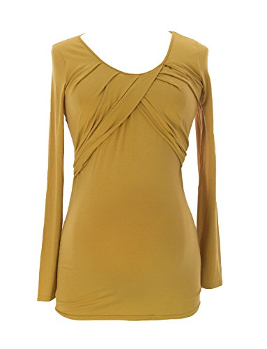 9FASHION Maternity Women's Lada Wrap Blouse, Small, Mustard