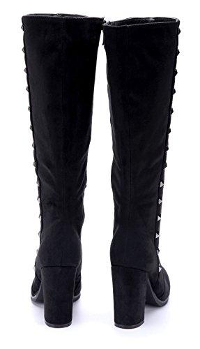 Schuhtempel24 Damen Schuhe Klassische Stiefel Stiefeletten Boots Blockabsatz Nieten 9 cm Schwarz