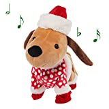 Simply Genius Funny Animated Christmas Plush, Dog Stuffed Animals, Stuffed Animals Christmas Decorations That Sing Christmas Music and Dance
