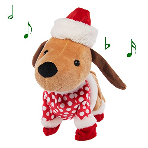 Funny Christmas Puppy - Simply Genius Funny Animated Plush Toy Dog Doll Singing Dancing Christmas Holiday Stuffed Animal Toys Décor & Decorations