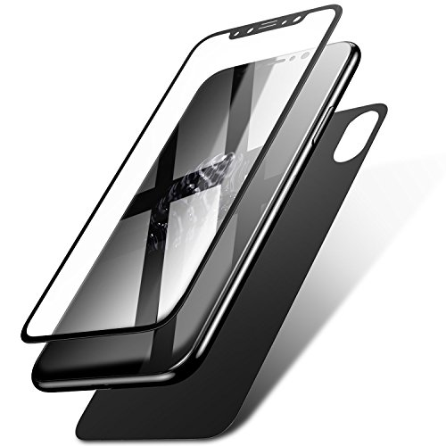 Price comparison product image iPhone X Front Back Tempered Glass Screen Protector HD Clear, B4Uebuy Toughened 9H Hardness HD Back Cover and 2.5D Front Tempered Glass for Apple iPhone X (Black Back+Black Front)