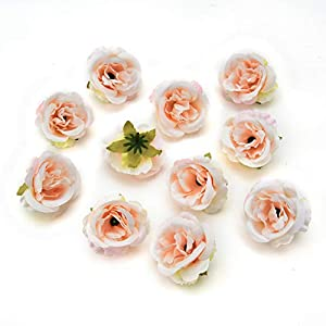 fake flowers heads Silk Rose Bud Artificial Flower for Wedding Party Home Plants Decoration Mariage Cloth Hat Accessories Fake Flowers 30pcs/lot 4cm (Light Pink) 2