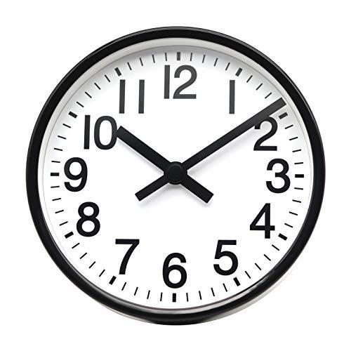 COMODO CASA Wall & Desk Clock- Metal Black Frame-Glass Cover-Non Ticking-Quartz Sweep-Silent 6 inch Retro Clock,White