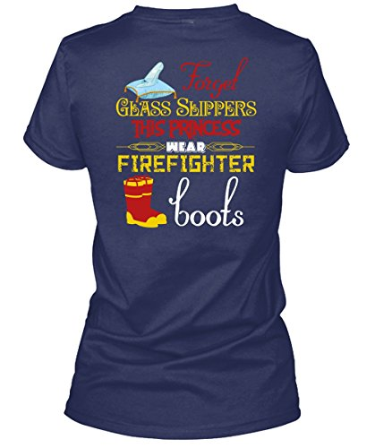 Forget Glass Slippers T Shirt, This Princess Wear Firefighter Boots T Shirt Womens - Glasses Police Boots