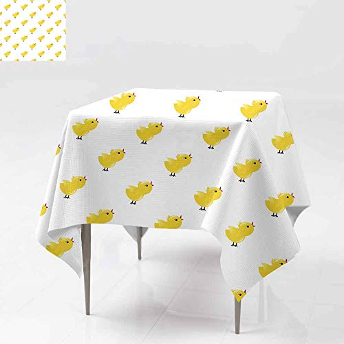 (Fbdace Stain Resistant Square Tablecloth,Seamless Pattern with Yellow Chickens Baby Background Rooster Dinner Picnic Table Cloth Home Decoration 36x36 Inch)