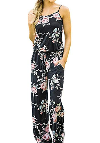 Casual Floral Printed Summer Jumpsuits for Women Sexy Beach Halter Sleeveless Lounge Long Pants Strap Jumpsuit Rompers (XXL, Black)
