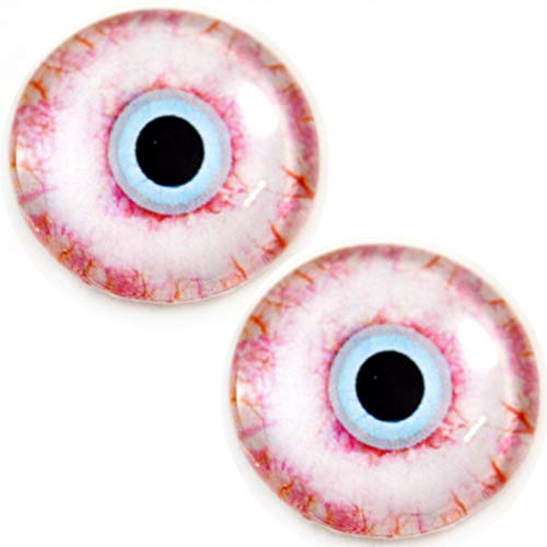 30mm Bloodshot Human Zombie Glass Eyes with Scelera Whites Unique Pair for Art Dolls, Sculptures, Props, Masks, Fursuits, Jewelry Making, Taxidermy, and More]()