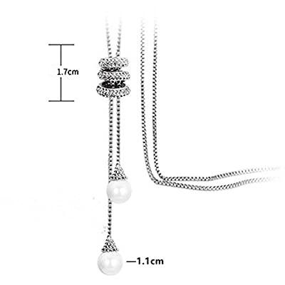 Spiritlele Pearl Crystal Snowflake Tassel Long Sweater Pendant Necklace layered Disc Necklace for Women Girls