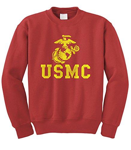 (Cybertela United States Marine Corps USMC Crewneck Sweatshirt (Red, Large))
