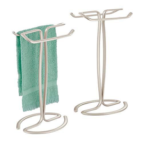 mDesign Decorative Metal Countertop Standing Guest Hand Towels Holders Stands for Bathroom Vanities - Set of 2, Satin by mDesign
