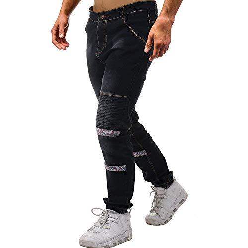 In Nero Slim Denim Vintage Uomo A Vestibilità Pantaloni Dritta Moto Gamba Classiche Jeans Ragazzi Da Elasticizzato XZqwg