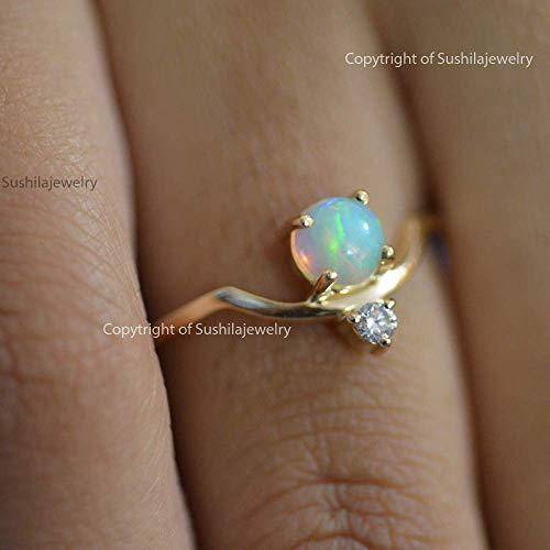 14 Carat Solid Gold Natural Ethopian Opal 0.18 ct Diamond SI Clarity H color 0.015 Ct Handmade Minimalist - 0.18 Diamond Si Ct
