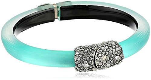 Alexis Bittar Crystal Encrusted Clasp Skinny Hinge Cuff Bracelet, Mint Green, One Size