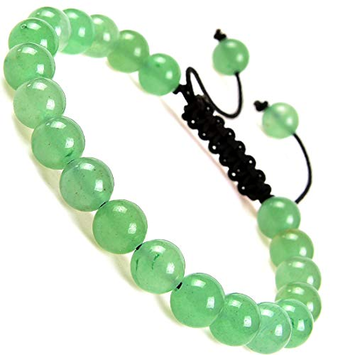 Massive Beads Natural Healing Power Gemstone Crystal Beads Unisex Adjustable Macrame Bracelets 8mm (Green Aventurine)