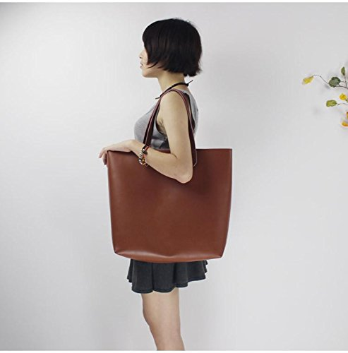 Handmade women fashion brown leather tote bag shoulder bag handbag shopper bag
