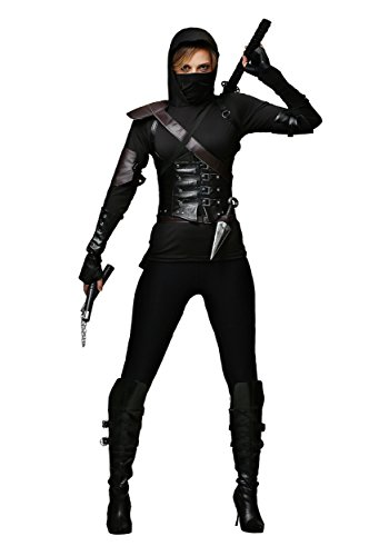 Ninja Costume for Adult Women, Halloween Assassin Cosplay Outfit Masquerade Accessory (L)