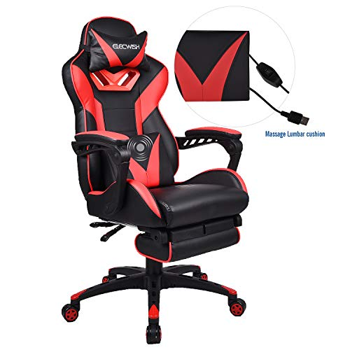 Elecwish Gaming Chair with Footrest Racing Style High-Back PU Leather Office Chair Computer Desk Chair Executive and Ergonomic Style Swivel Chair with Headrest and Massage Lumbar Support (Red)