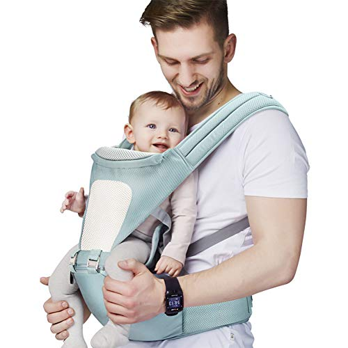 AFLUODN 2019 Updated Baby Carrier 3D Cool Air Mesh Ergonomic 360° Baby Carriers Front and Back to Put On 11 Comfortable Positions and Breastfeeding Fits-Adapt to Newborn, Infant & Toddler