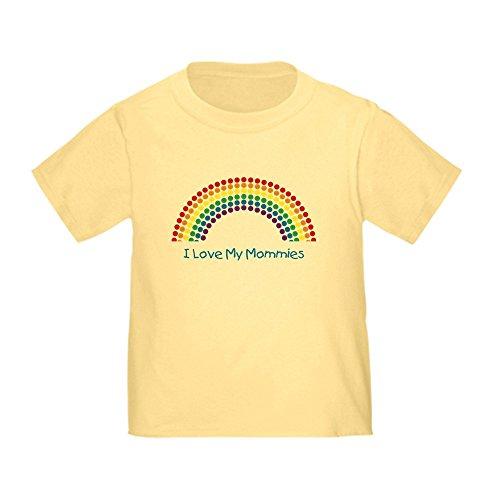 CafePress I Love My Mommies Polka Dot R Toddler T-Shi Cute Toddler T-Shirt, 100% Cotton Daffodil Yellow
