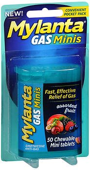 Mylanta Gas Minis Chewable Tablets Assorted Fruit - 50 ct, Pack of 4 by Mylanta