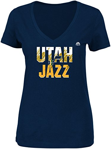 NBA Utah Jazz Women's Get Aggressive Short Sleeve V-Neck Tee, Large, Athletic Navy