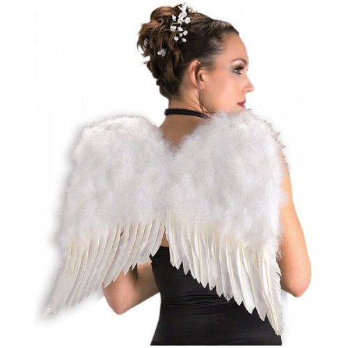 Deluxe White Feather Wings Costume Accessory