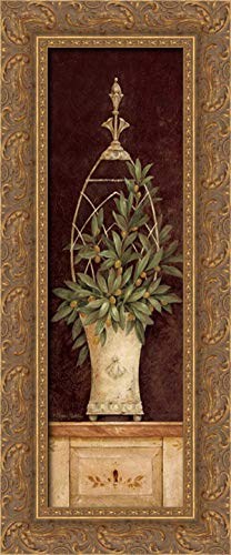 Olive Topiary II 11x24 Gold Ornate Wood Framed Canvas Art by Gladding, Pamela