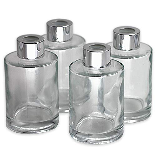 Feel Fragrance  Glass Diffuser Bottles Diffuser Jars with Caps Set of 4 - 4.2 inches High, 120ml 4.06 Ounce. Fragrance Accessories Use for DIY Replacement Reed Diffuser Sets. (Replacement Reed Set)