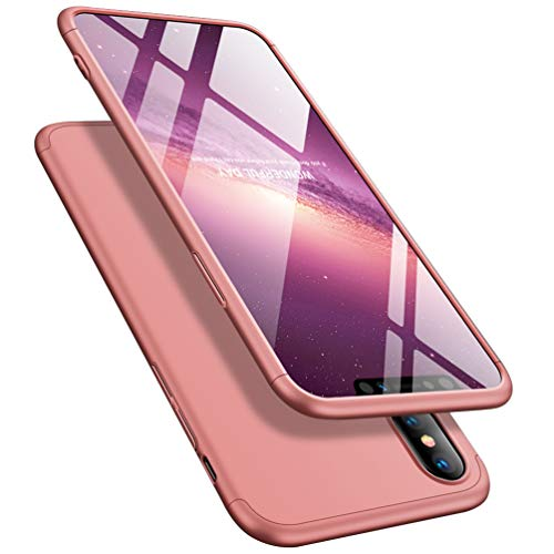 iPhone X/XS Case iPhone Xs Case, ATRAING PC Hard Cases Ultra-Thin 3 in 1 Cover with Screen Protector for Apple iPhone X/XS(Rose Gold)