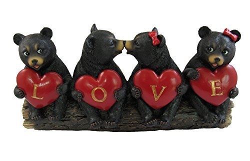 Cute Valentine Black Cubs Sharing the ''LOVE'' by DWK | Black Bear Hearts Romantic Figurines Home Decor and Gifts