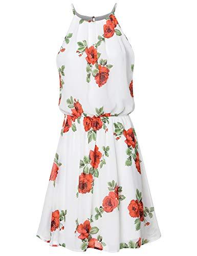 JSCEND Women's Sleeveless Double Layered Pleated Neck Cami Chiffon Mini Dress (S~3XL) B-IVORYRED L ()