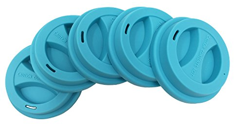 KSENDALO 5/Pack Reusable Silicone Lids,Drinking Coffee/Tea Silicone Cup Lids, Cup Mug Cover Lid,Blue