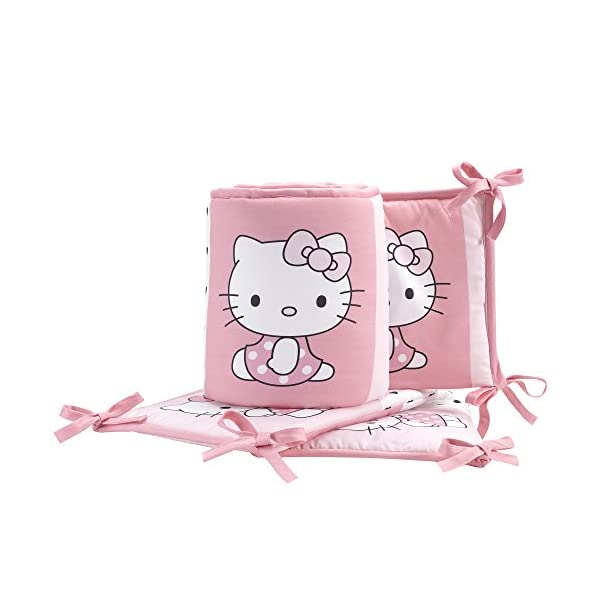 Bedtime Originals Hello Kitty Luv Hearts 4 Piece Crib Bumper, Pink/White