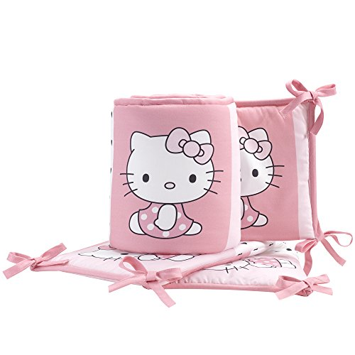 - Bedtime Originals Hello Kitty Luv Hearts 4 Piece Crib Bumper, Pink/White