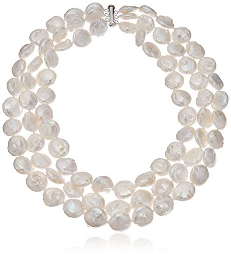 Sterling Silver 3-rows 11-11.5mm White Semi-coin Freshwater Cultured Pearl Strand, 16'' by Amazon Collection