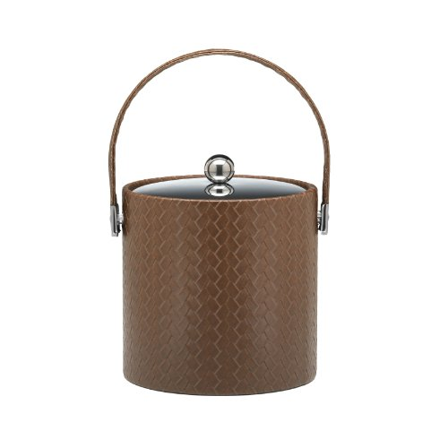 Kraftware Ice Bucket with Stitched Handle and Metal Cover, Brown - 3 Quart Metal 3 Qt Ice Bucket