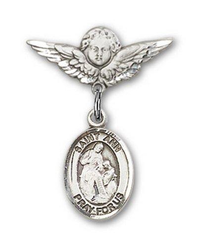 Icecarats Créatrice De Bijoux En Argent Sterling St. Ann Charme Ange Pin Badge 7/8 X 3/4