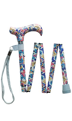 Handbag Size Folding Walking Stick - Butterfly