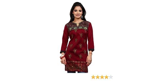 India Túnica Top Kurti Para Mujer Bordada Blusa Indian Apparel (Granate, M): Amazon.es: Ropa y accesorios