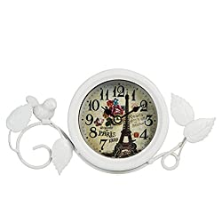 Dannto Vintage Shabby Metal Craft Table Clock with Bird Battery Operated Silent Clock (One Size, White)