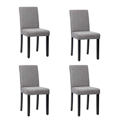 Cypress Shop Fabric Upholstered Dining Chairs High Back Seat Backrest Accent Seating Chairs Button Restaurant Kitchen Chair Soft Padded Gray Color Wood Legs Hoe Furniture Set of 4 (Tub Velvet Chair Crushed)
