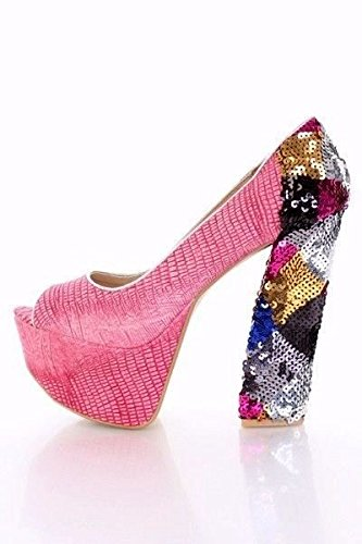 Sexy Faux Peep Textured Fuchsia Black Heels Shoes High Pink Fuchsia Toe Leather Lot Sequins gUxwIdqg