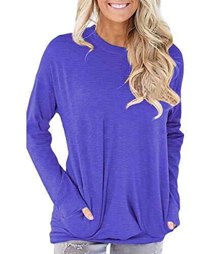 Printemps Shirts Sweat Col Longues Casual Couleur Blouse Tees Tops Manches Pulls Unie Automne Rond Hauts T Bleu Femmes et Jumpers Shirts UZWIrCqUw
