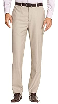 Calvin Klein Tan Textured Flat Front New Men's Dress Pants
