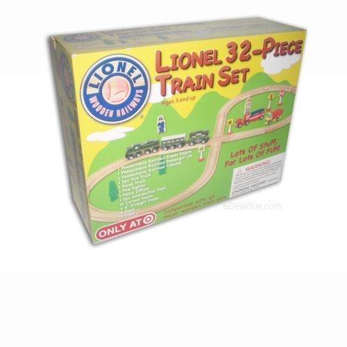 (Lionel Classic 32 Piece Wooden Train Set)